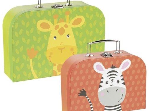 GOKI Kofferset Giraf en Zebra 2-delig