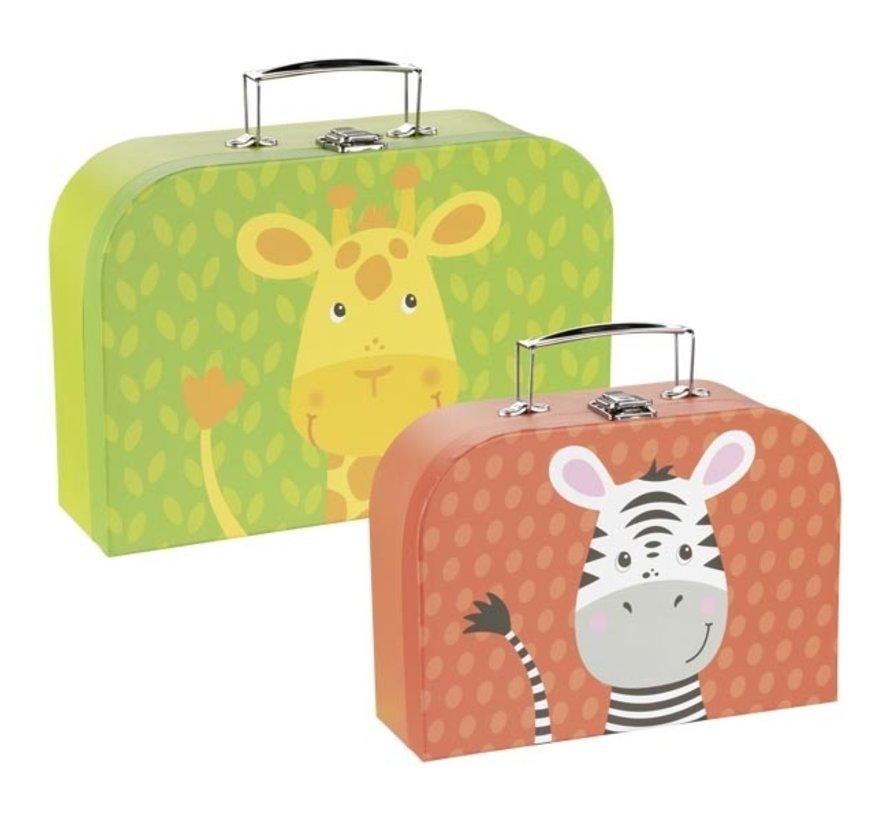 Kofferset Giraf en Zebra 2-delig