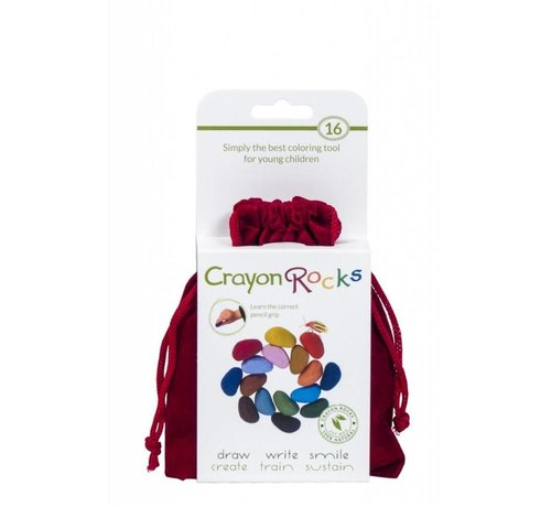 Crayon Rocks 16 Colors in a Red Velvet Bag