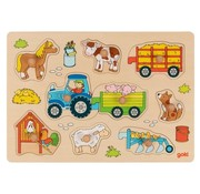 GOKI Button Puzzle Tractor with Trailers 9 pcs