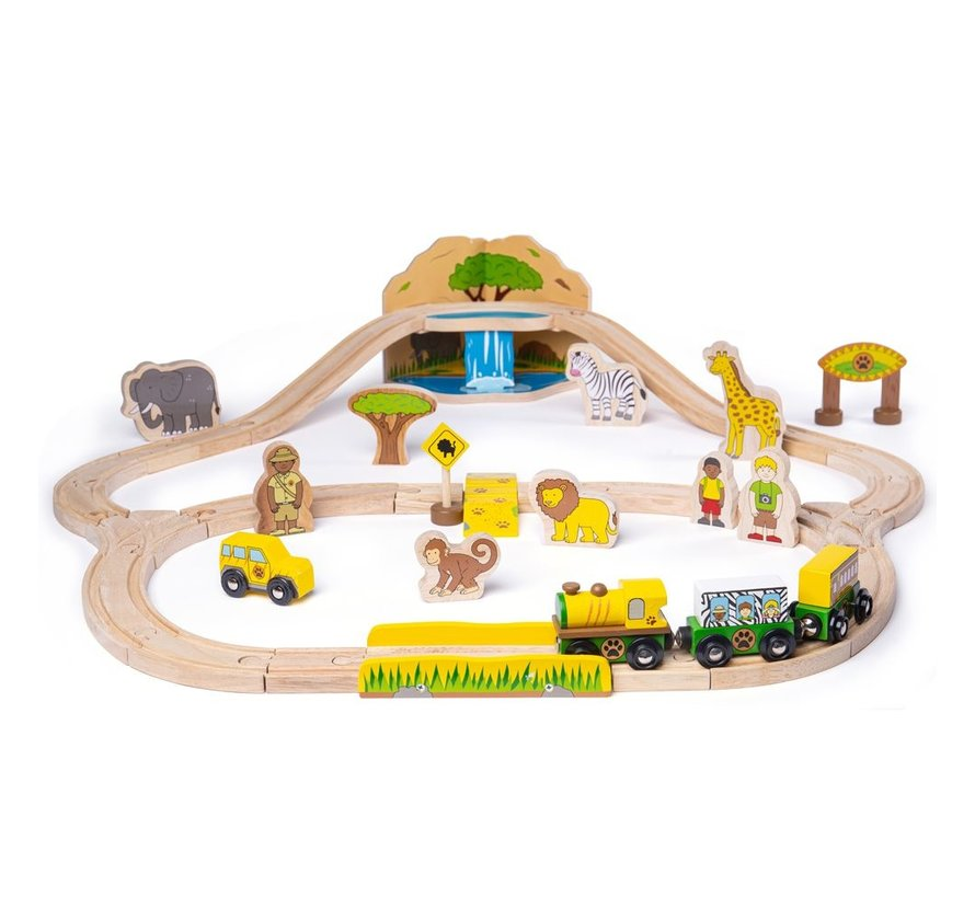 Houten Trein Set Safari 38-delig