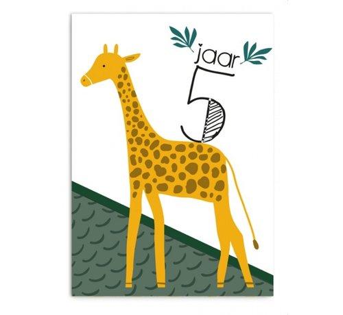 Pepermints Wenskaart 5 Jaar Giraf