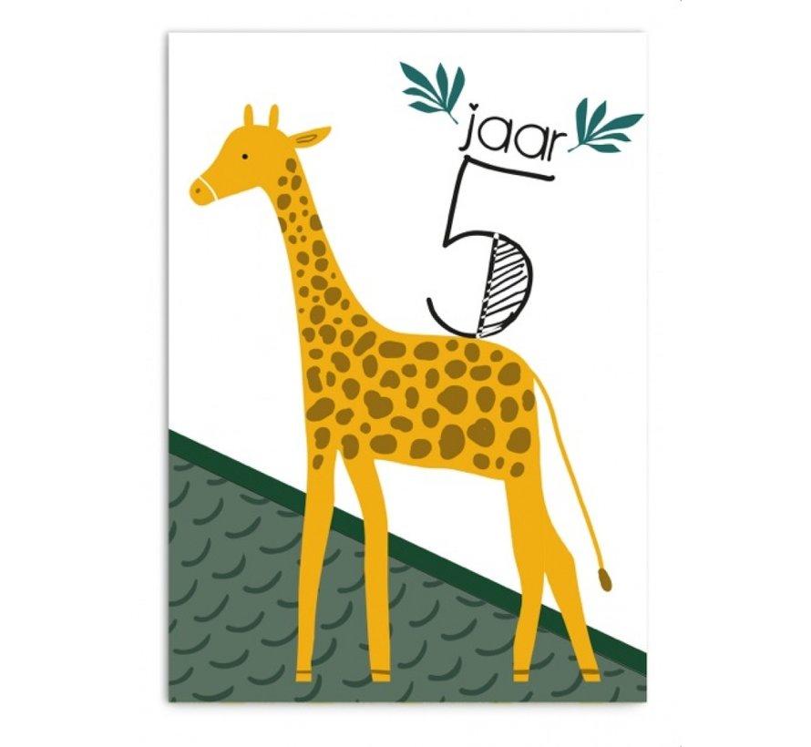 Wenskaart 5 Jaar Giraf
