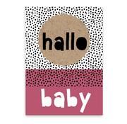 Pepermints Wenskaart Hallo baby (roze)