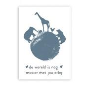 Pepermints Wenskaart de wereld is nog mooier met jou erbij (blauw)