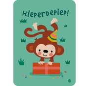 Bora Postkaart Jungle Hieperdepiep (aap)