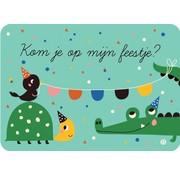 Bora Uitnodigingskaart Kroko en Schildpad 6-delig