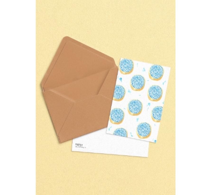 Postkaart Beschuit met Muisjes Blauw