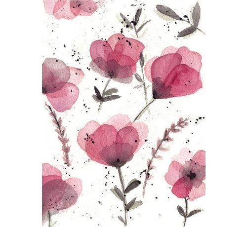 Fritsy Postkaart Paarse Bloemen
