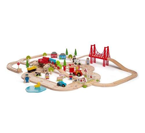 Bigjigs Houten Trein Road & Rail Set 80-delig