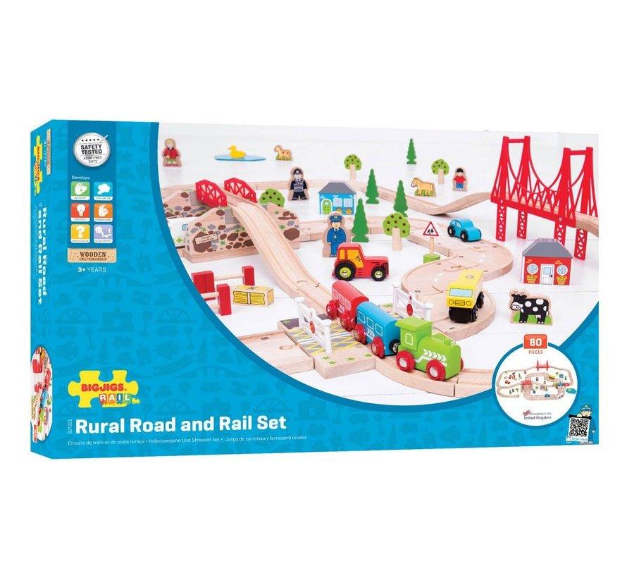 Houten Trein Road & Rail Set 80-delig
