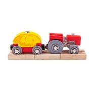 Bigjigs Red Tractor and Wagon