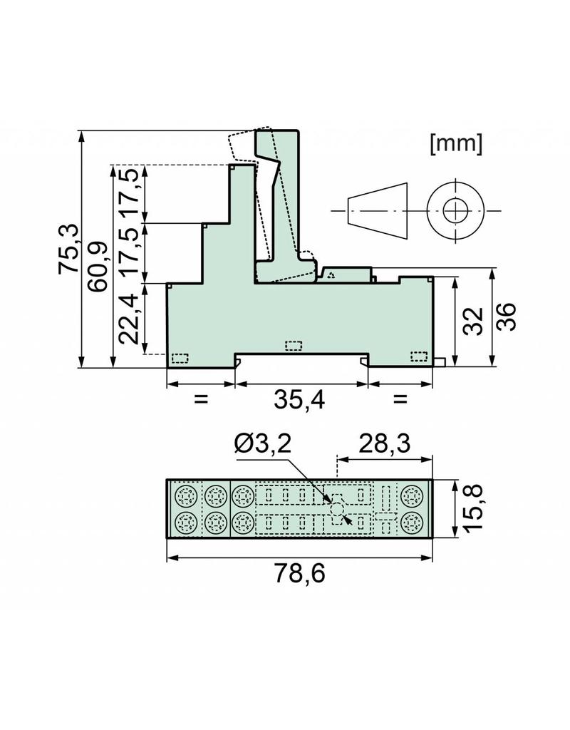 ELESTA relays DIN-Schienenfassung SRD-SGR2A KV2