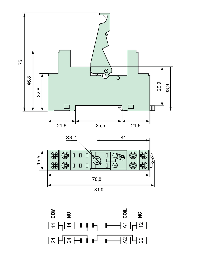 ELESTA relays DIN-Schienenfassung SRD-SGR2