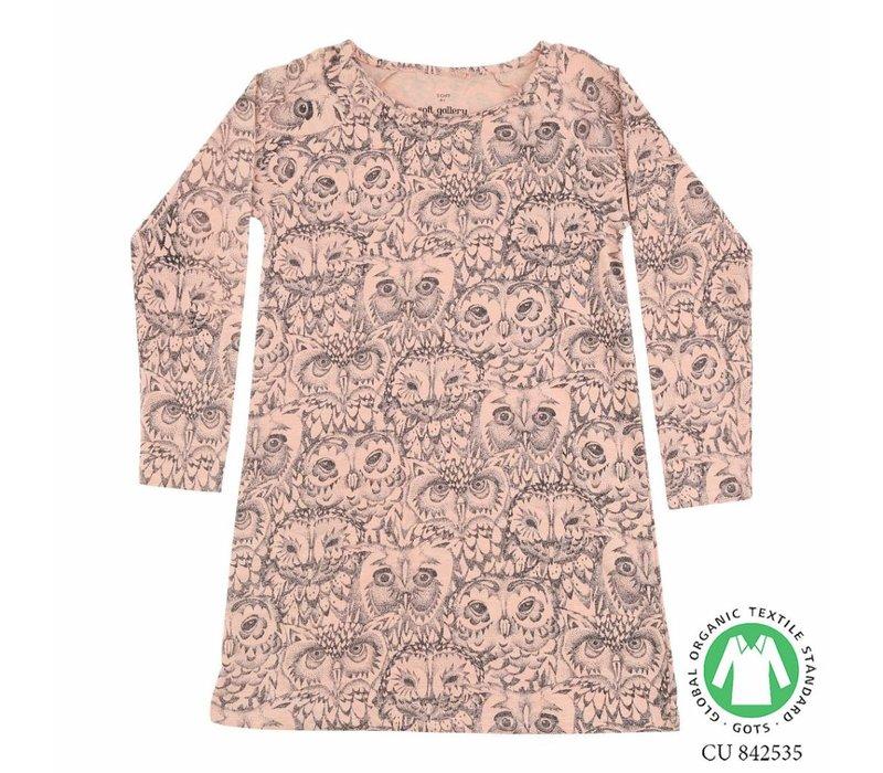 Soft Gallery- owl -pyjama-dress-pink