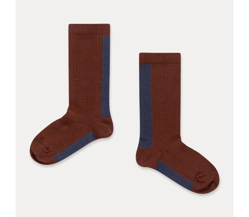 Repose AMS socks -  warm pecan stripe