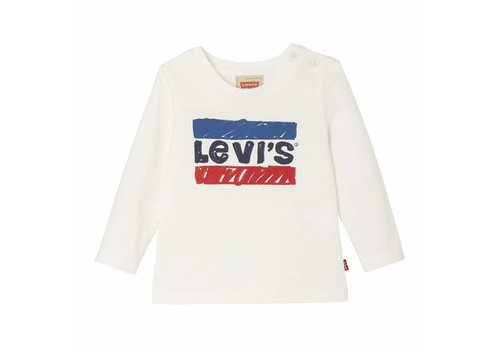 Levis Longsleeve Wit, Logo blauw /rood baby J