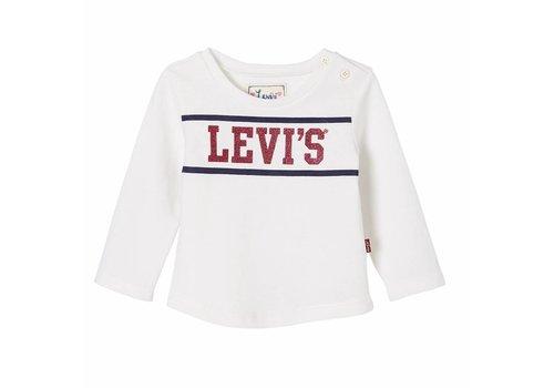 Levis Longsleeve Wit, Logo Glitter baby M