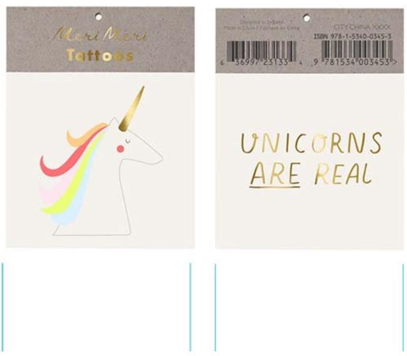 Meri Meri Unicorns are real tattoos