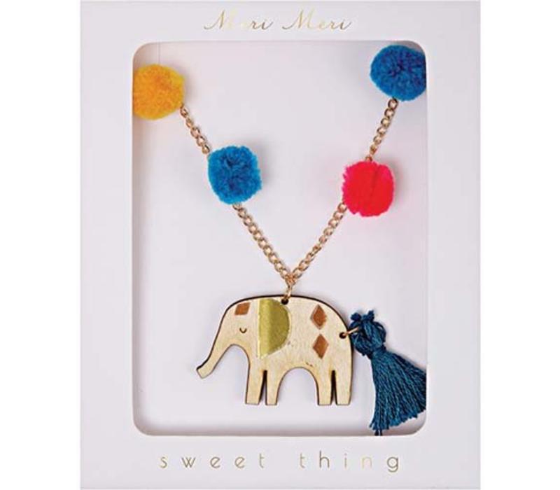Meri Meri Pom pom elephant necklace