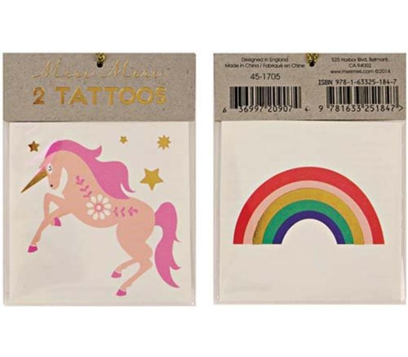 Meri Meri Unicorn & rainbow tattoos