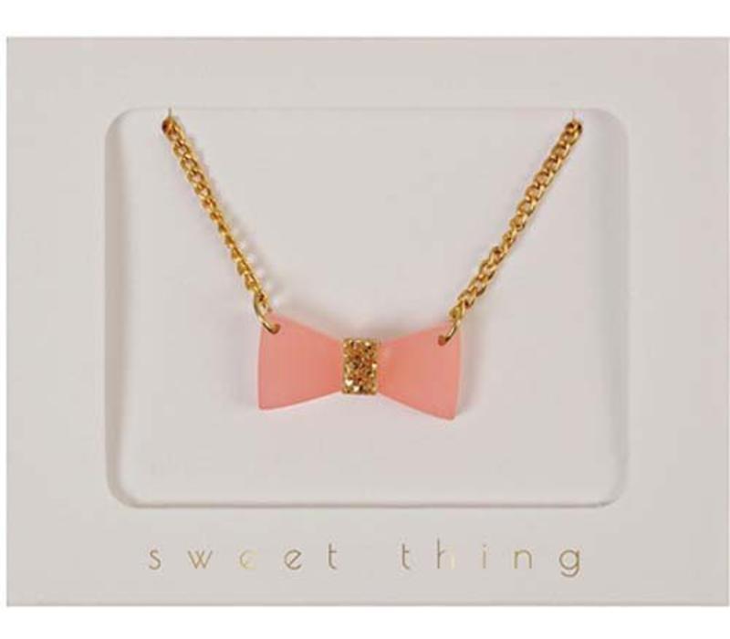 Meri Meri Glitter bow necklace