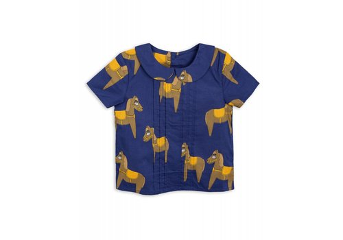 Mini Rodini Mini Rodini Horse woven pleat blouse