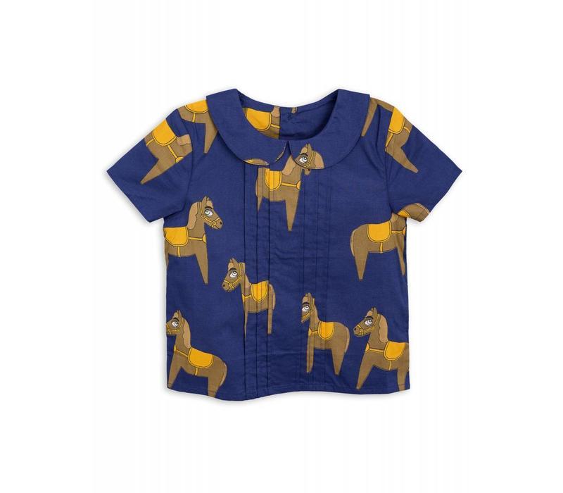 Mini Rodini Horse woven pleat blouse