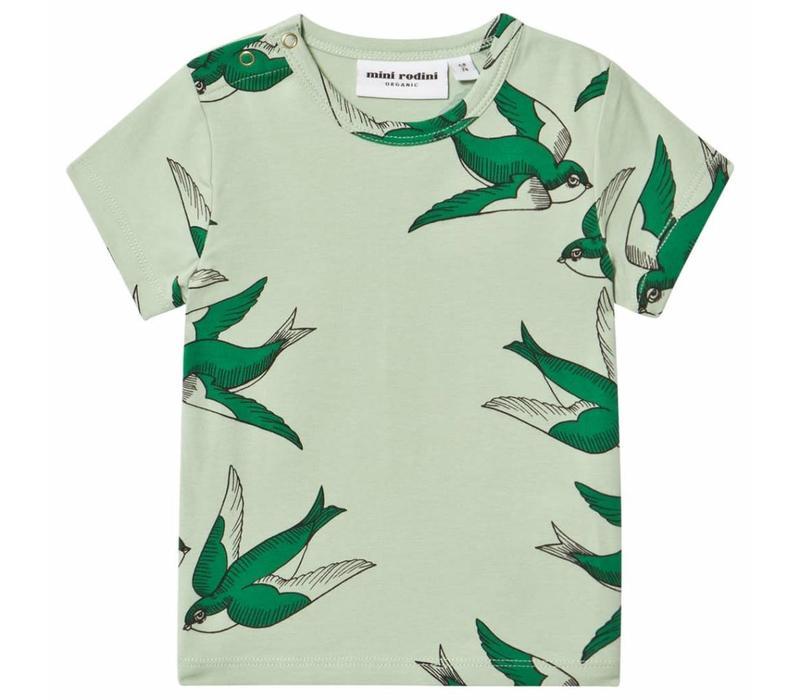 Mini Rodini Swallows tee green