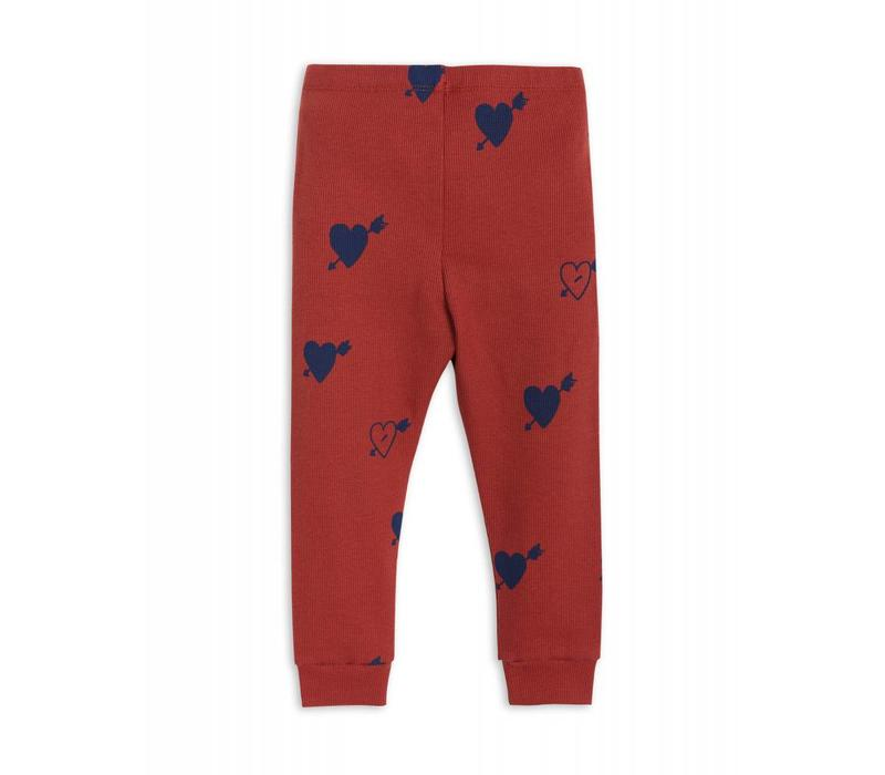 Mini Rodini Heart rib legging red