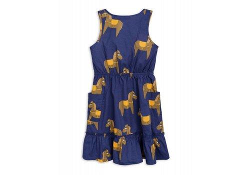 Mini Rodini Mini Rodini Horse woven flounce dress navy