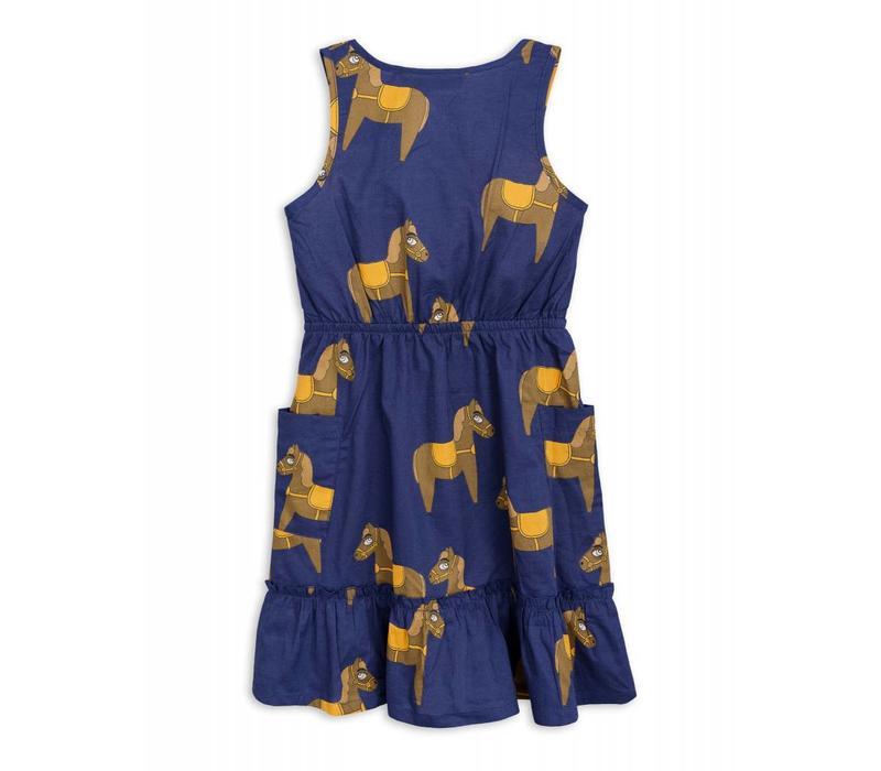 Mini Rodini Horse woven flounce dress navy