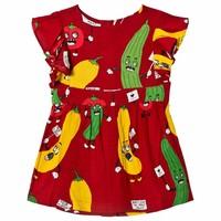 Mini Rodini Veggie woven ruffled dress