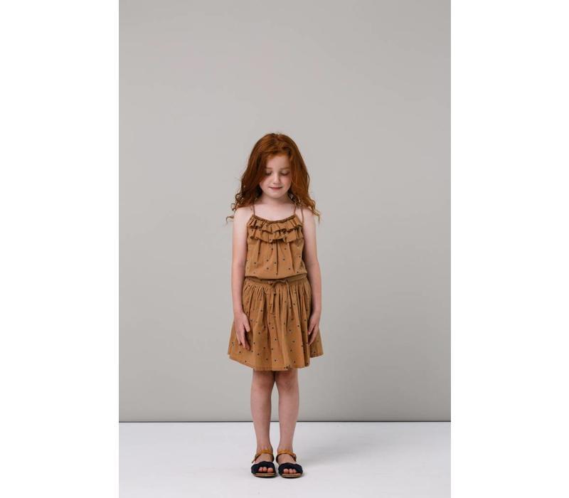 MarMar Copenhagen Sille Light Cotton Print Skirt Caramel Dot