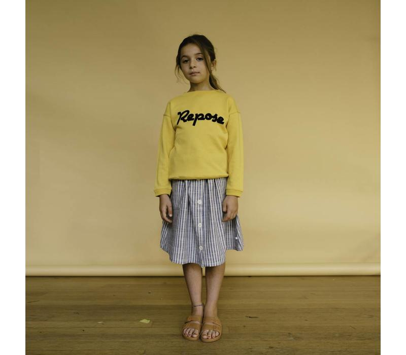 Repose AMS 18. Button Down Skirt / Faded Sand Stripe