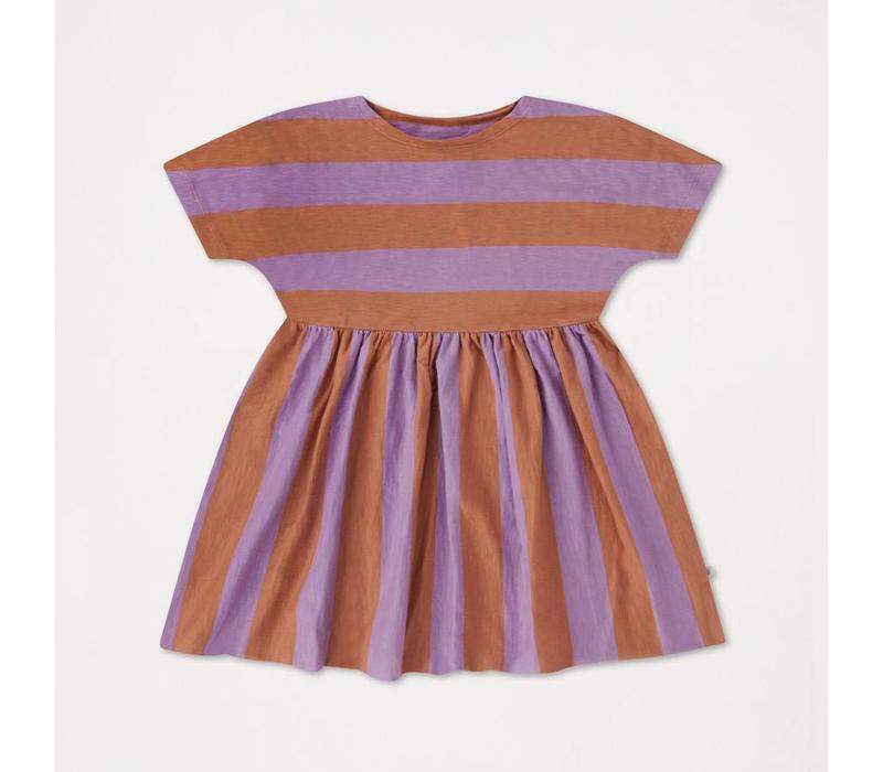 Repose AMS 26A. Ruffle Dress Warm Earthy Lilac Stripe