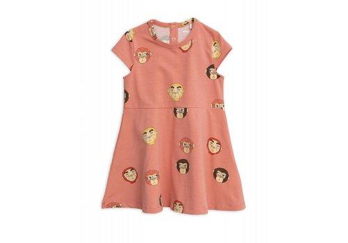 Mini Rodini Mini Rodini Monkeys aop ss Dress Pink
