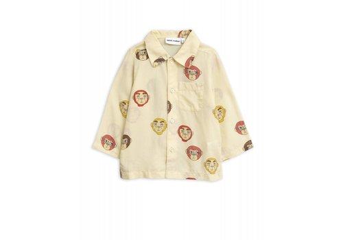 Mini Rodini Mini Rodini Monkey LS Woven Shirt Offwhite