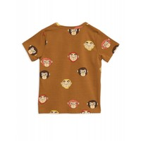 Mini Rodini Monkeys AOP ss Tee Brown