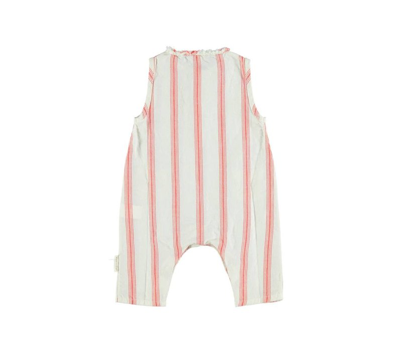 Piupiuchick Baby Sleeveless jumpsuit red stripes