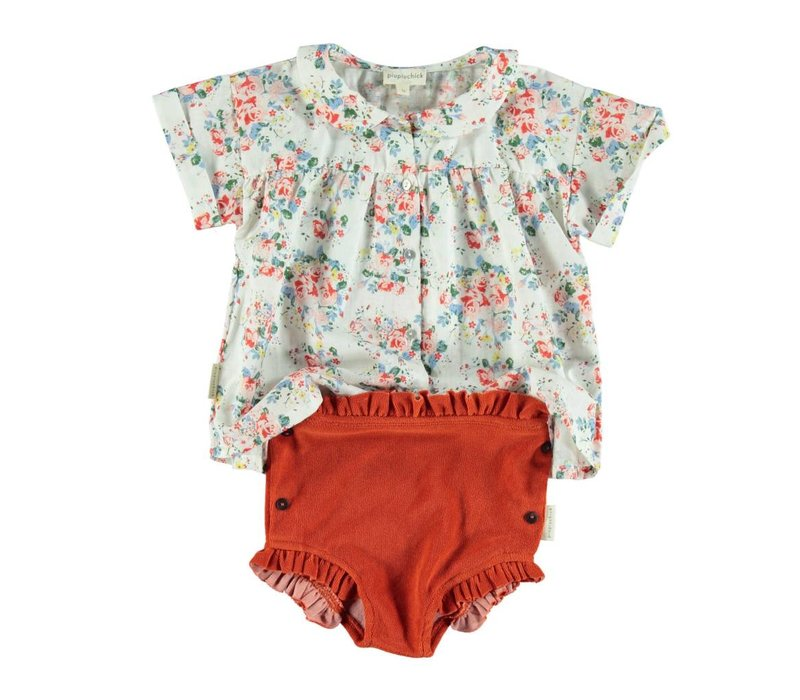 Piupiuchick High waisted Shorts with Frills red