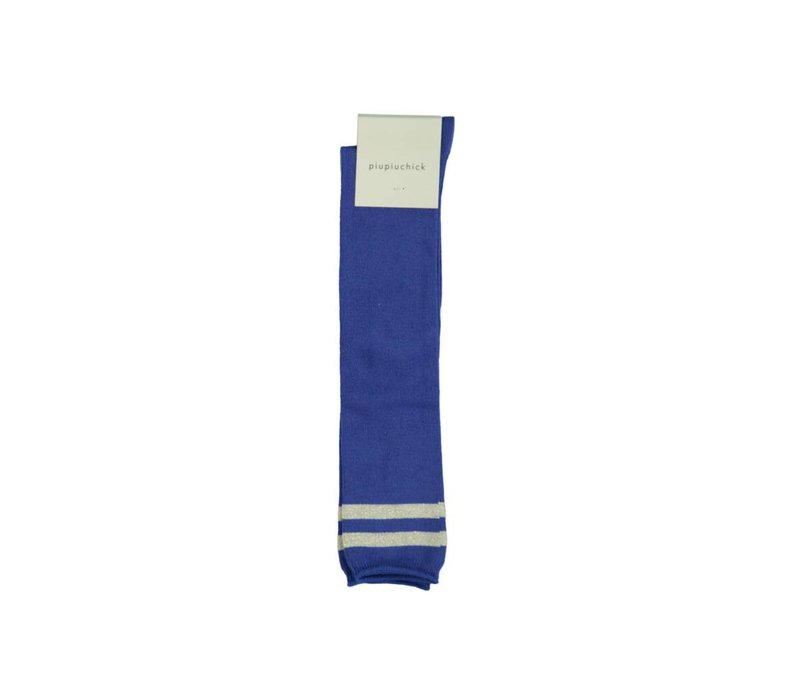 Piupiuchick Kneesocks Blue with golden stripe