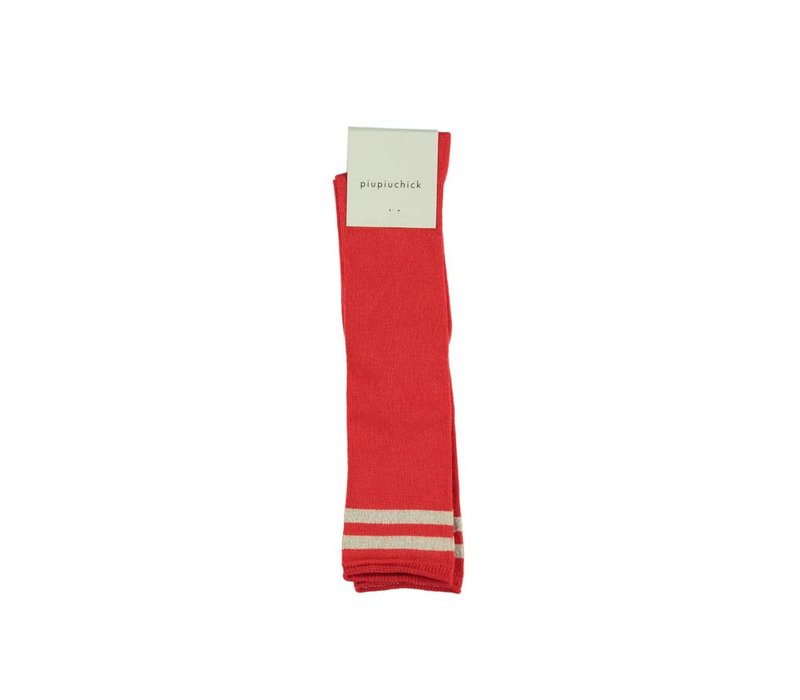 Piupiuchick Kneesocks Red with golden stripe