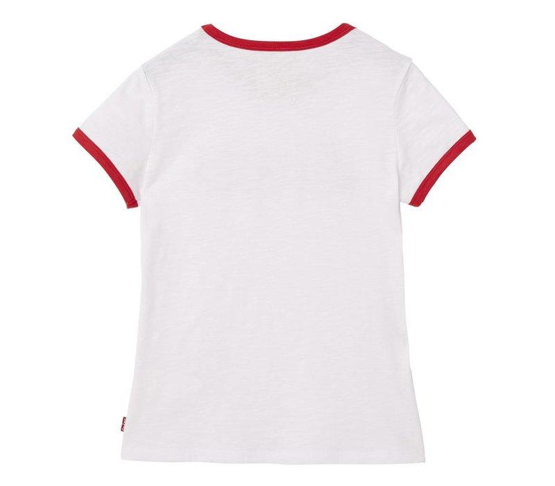 Levis Tee Shirt rode bies Logo Wit M
