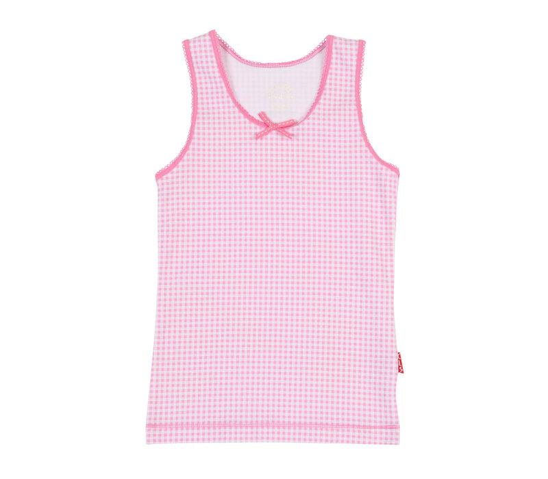 Girls singlet pink checks