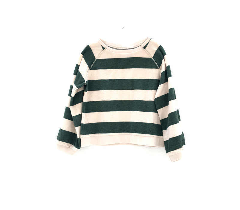 Long live the Queen green stripe terry Sweater
