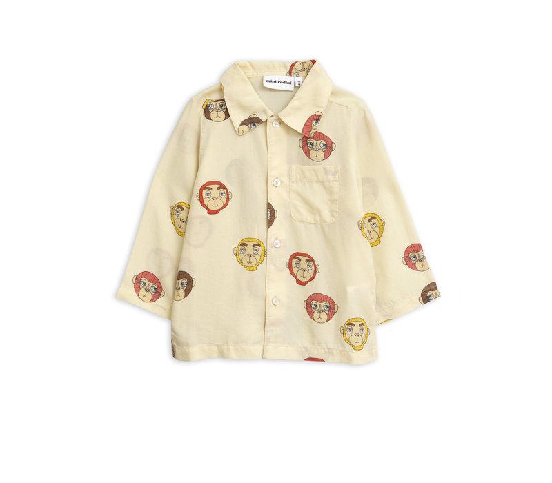 Mini Rodini Monkey LS Woven Shirt Offwhite