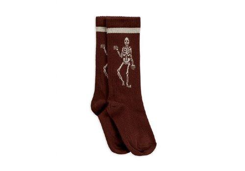 Mini Rodini Mini Rodini Knee sock Skeleton Brown