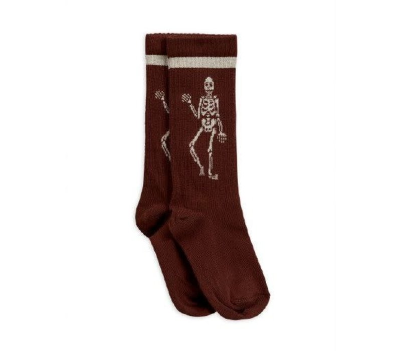 Mini Rodini Knee sock Skeleton Brown