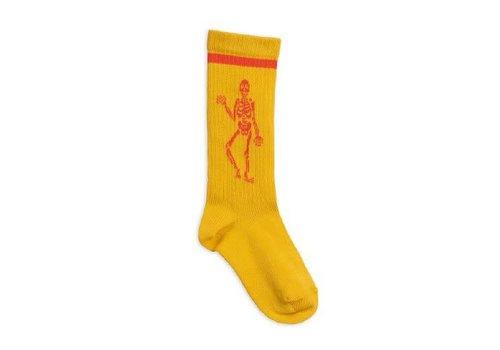 Mini Rodini Mini Rodini Knee sock Skeleton Yellow